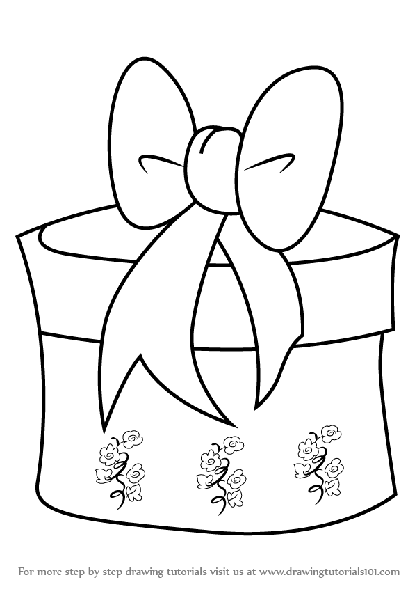 learn how to draw christmas giftbox with ribbon  christmas  step by step   drawing tutorials