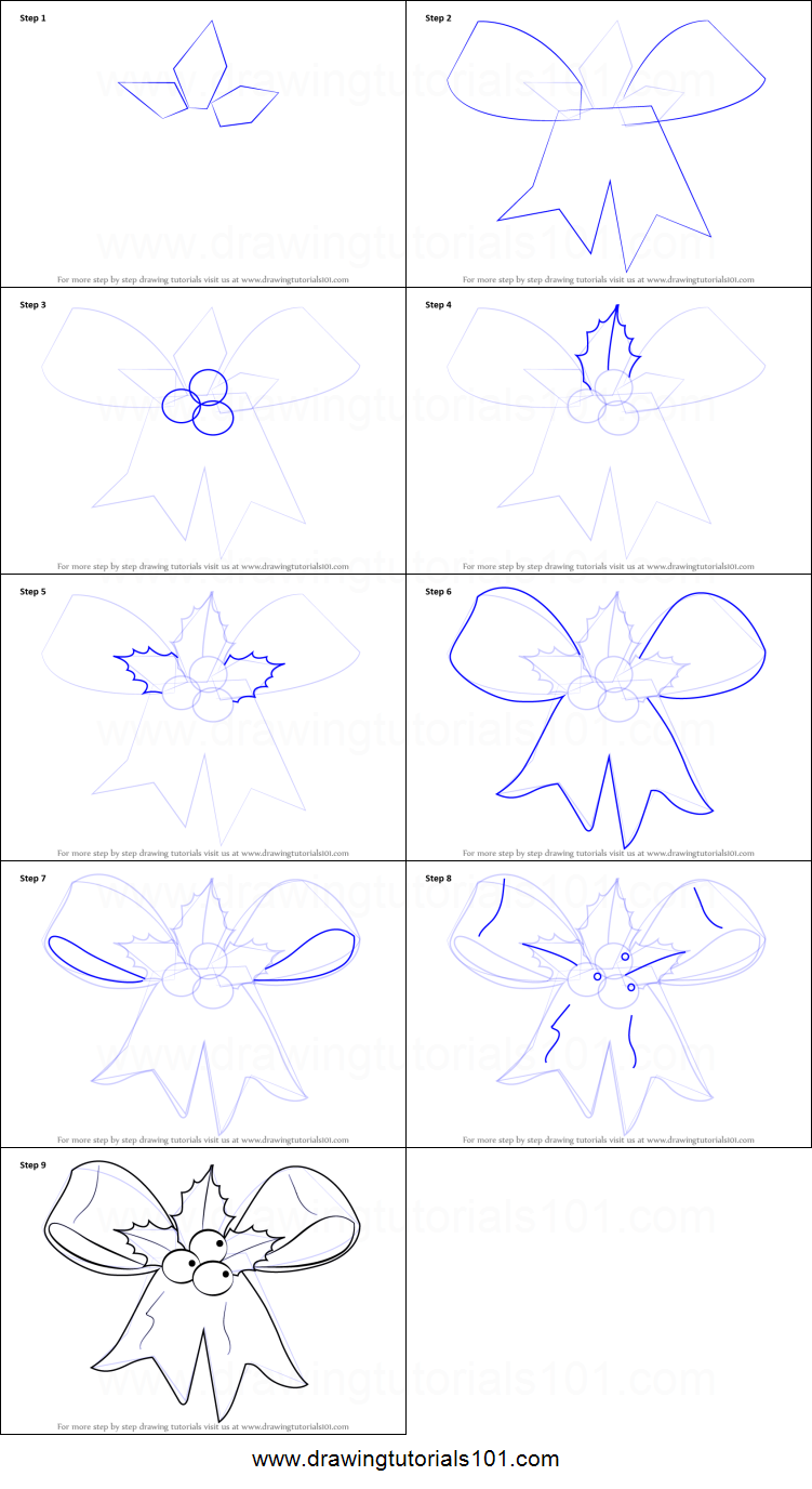 how to draw christmas ribbon printable step by step drawing sheet drawingtutorials101com - Christmas Drawings Step By Step