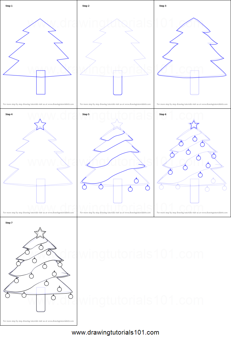 How to Draw Decorated Christmas Tree printable step by step drawing sheet : DrawingTutorials101.com