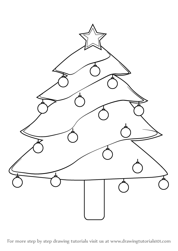 Learn How To Draw Decorated Christmas Tree Christmas Step By Step