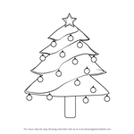 How to Draw Decorated Christmas Tree