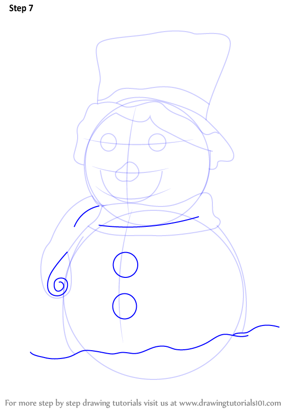 learn how to draw a decorated snowman  christmas  step by