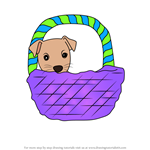 How to Draw Dog in a Basket