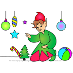 How to Draw Elf with Christmas Decorations