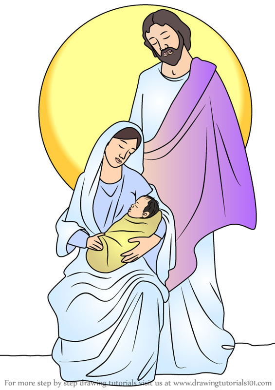 Learn How To Draw Holy Family Nativity Scene Christmas Step By Step Drawing Tutorials