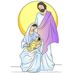 How to Draw Holy Family Nativity Scene
