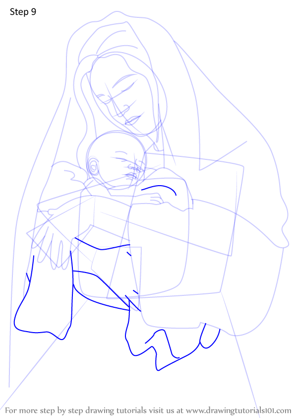 Learn How to Draw Mary holding Baby Jesus Nativity ...