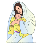How to Draw Mary holding Baby Jesus Nativity