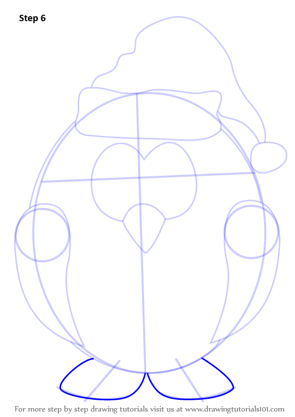 Learn How To Draw Penguin Santa Claus Christmas Step By