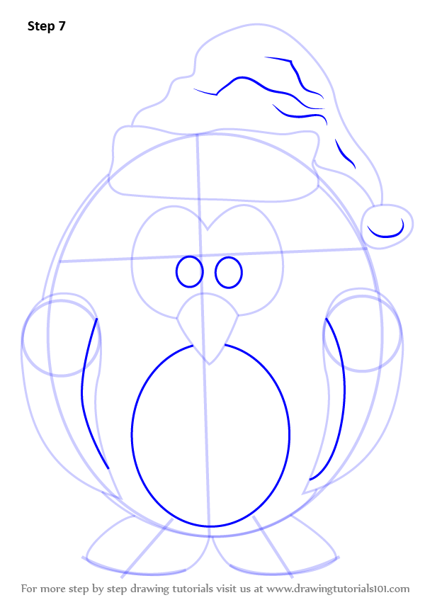 Learn How to Draw Penguin Santa