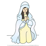 How to Draw Person Praying Nativity Scene
