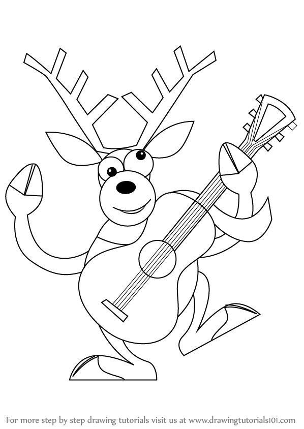 Learn how to draw a reindeer with guitar christmas step by step drawing tutorials