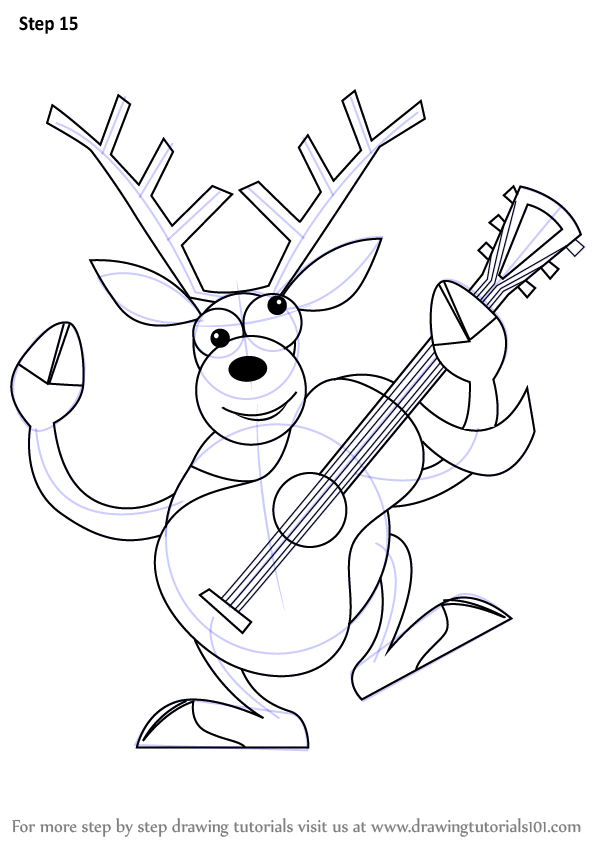 how to draw a cartoon reindeer step by step