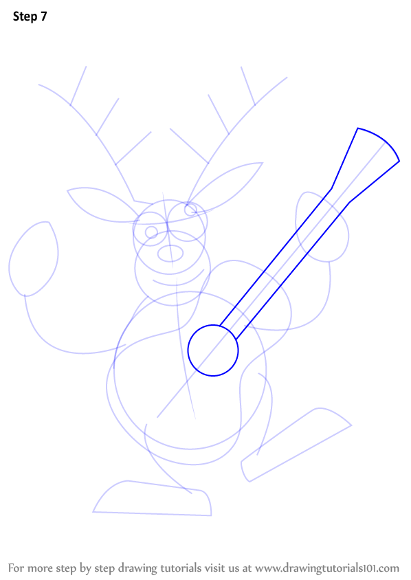 Learn How to Draw a Reindeer with Guitar (Christmas) Step ...