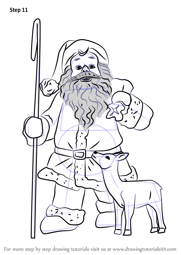 Learn How To Draw Santa Claus With Deer Christmas Step