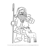 How to Draw Santa Claus With Deer