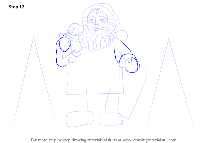 how to draw santa step by step full body