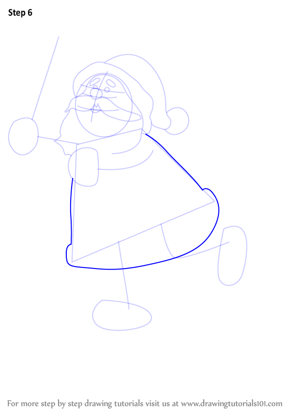 learn how to draw a ice skating santa  christmas  step by