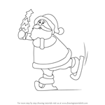 How to Draw a Ice Skating Santa