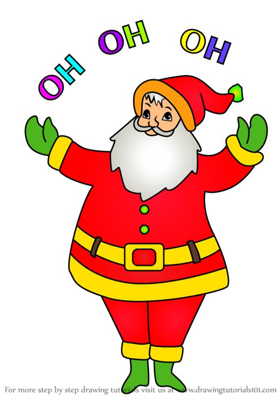 Learn How to Draw Santa Saying ho ho ho (Christmas) Step ...