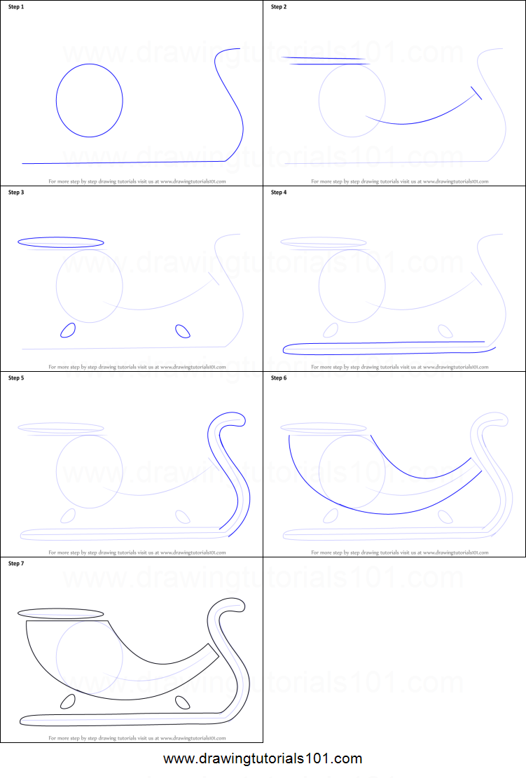 how to draw a sleigh for kids printable step by step