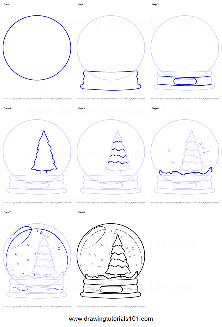 how to draw snowglobe with christmas tree printable step by step drawing sheet drawingtutorials101com - Christmas Drawings Step By Step