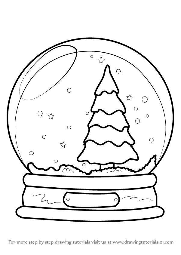 Learn How To Draw Snowglobe With Christmas Tree Christmas Step By