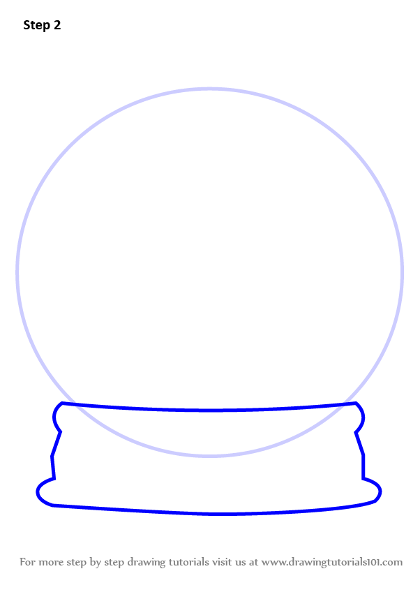 Learn How to Draw Snowglobe with Christmas Tree (Christmas) Step by Step : Drawing Tutorials