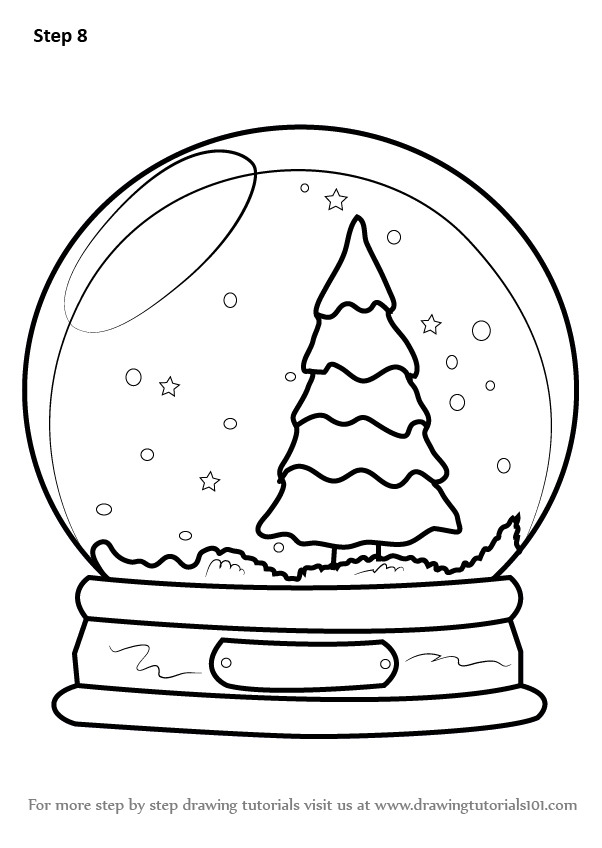 to Draw Snowglobe with Christmas Tree
