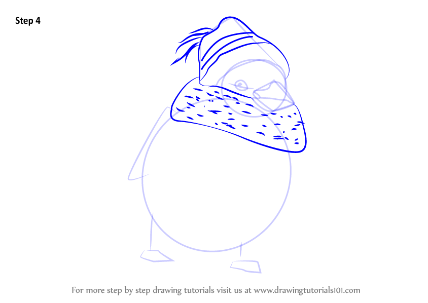 Learn How To Draw Sparrow With Scarf Christmas Step By