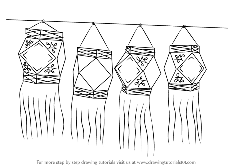 Learn how to draw diwali lanterns diwali step by step drawing tutorials