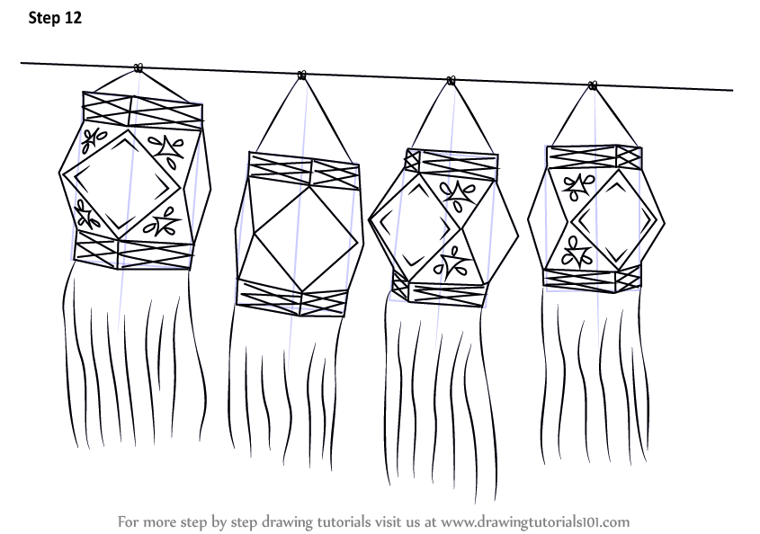 Learn How To Draw Diwali Lanterns Diwali Step By Step