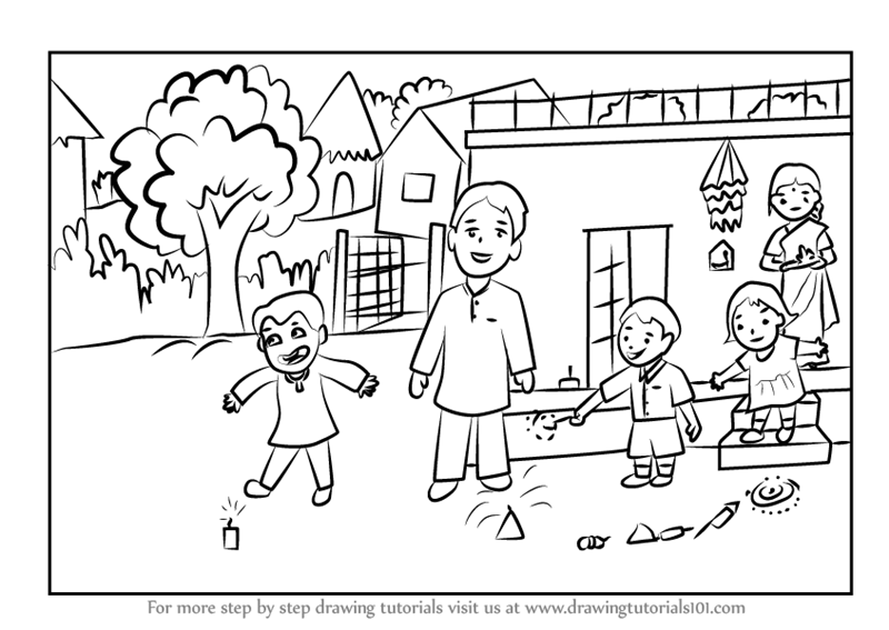 How To Draw Diwali Pictures Step By Step - coloring pages ...