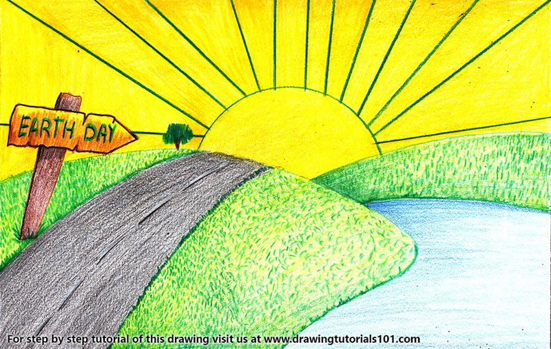 Earth Day Poster Colored Pencils Drawing Earth Day Poster With