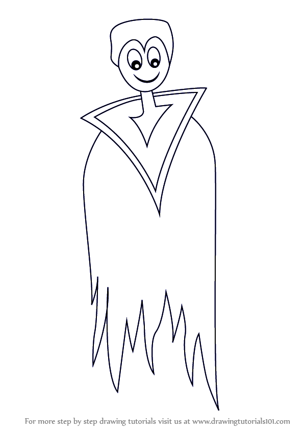 how to draw a dracula - Halloween Drawings Easy