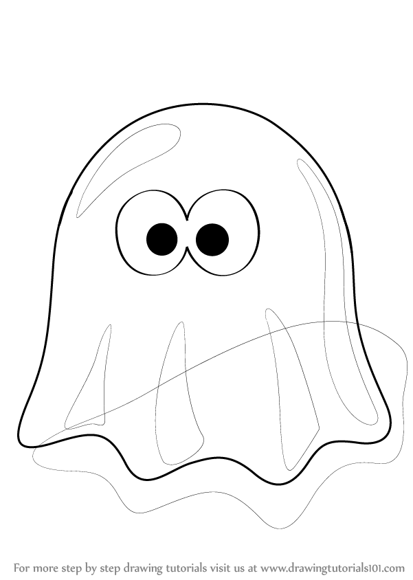 learn how to draw a ghost cartoon halloween step by step drawing tutorials - Cartoon Halloween Drawings