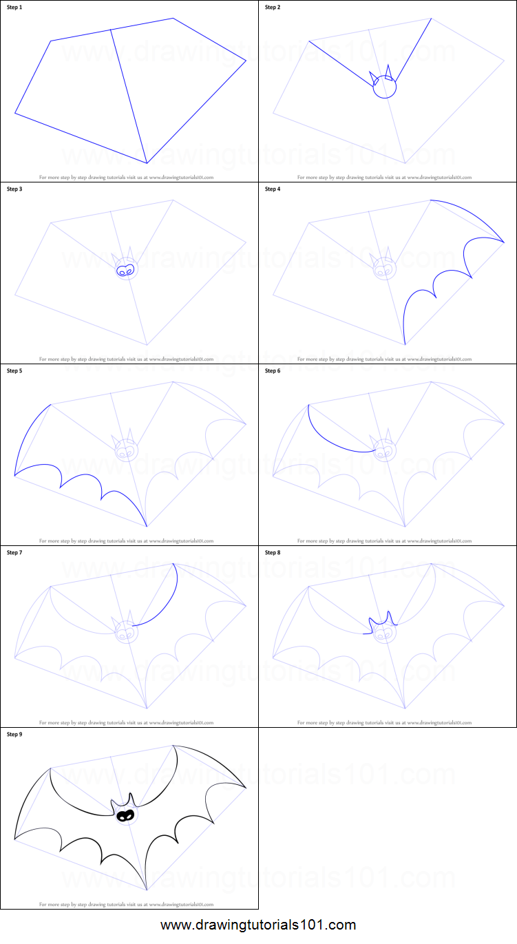 how to draw halloween bat printable step by step drawing sheet