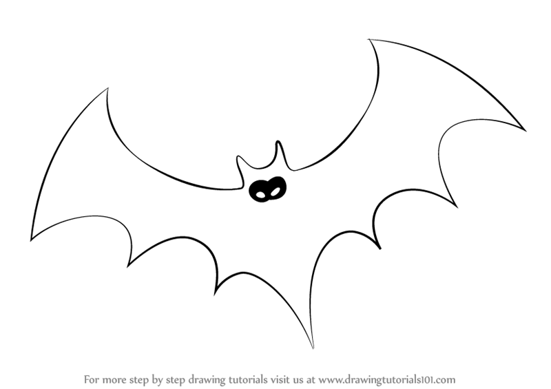 How To Draw Halloween Bat Halloween Step By Drawing Tutorials
