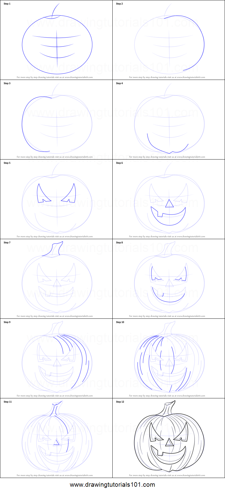 pumpkin drawing step by step. how to draw halloween pumpkin printable step by drawing sheet : drawingtutorials101.com i
