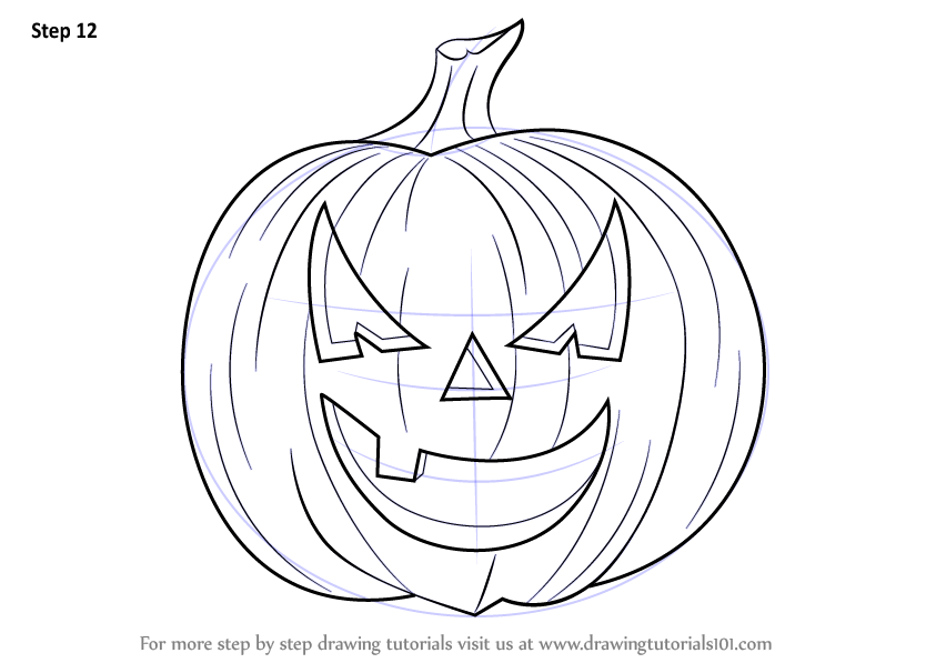 Halloween Pumpkin Drawing Picture.Learn How To Draw Halloween Pumpkin Halloween Step By Step
