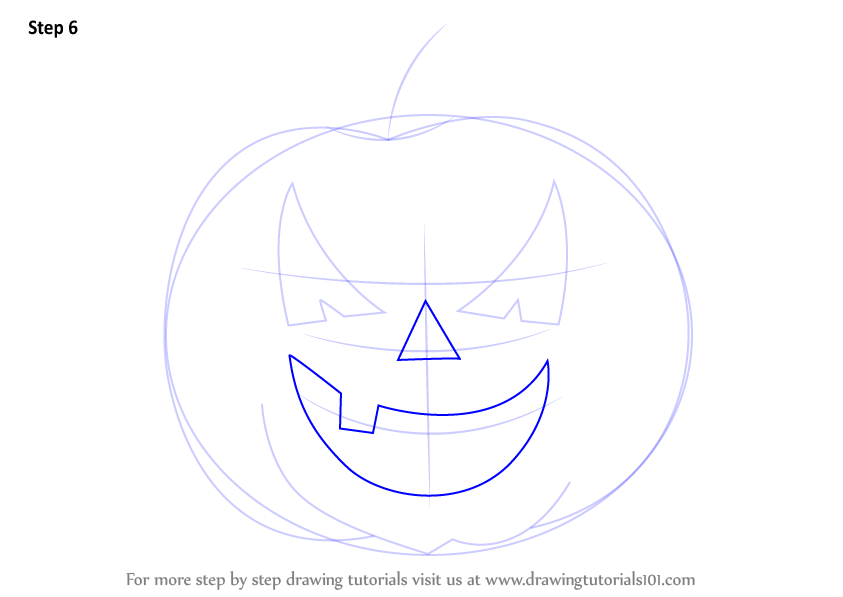 Learn How to Draw Halloween Pumpkin (Halloween) Step by ... | 843 x 597 png 33kB
