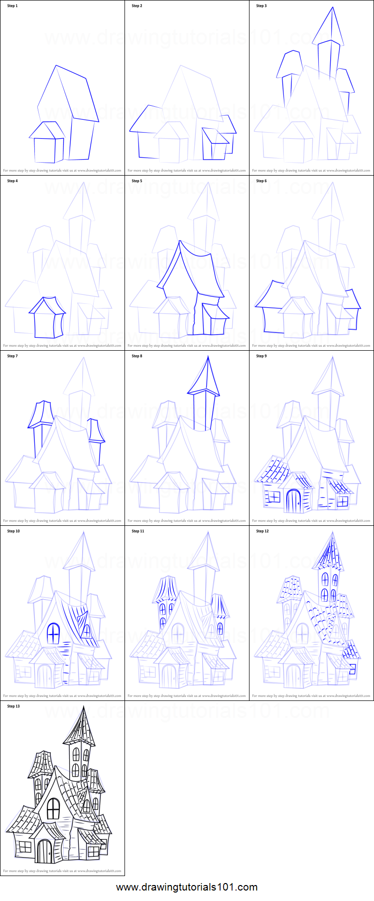 Step by step drawing tutorial on how to draw a spooky haunted house