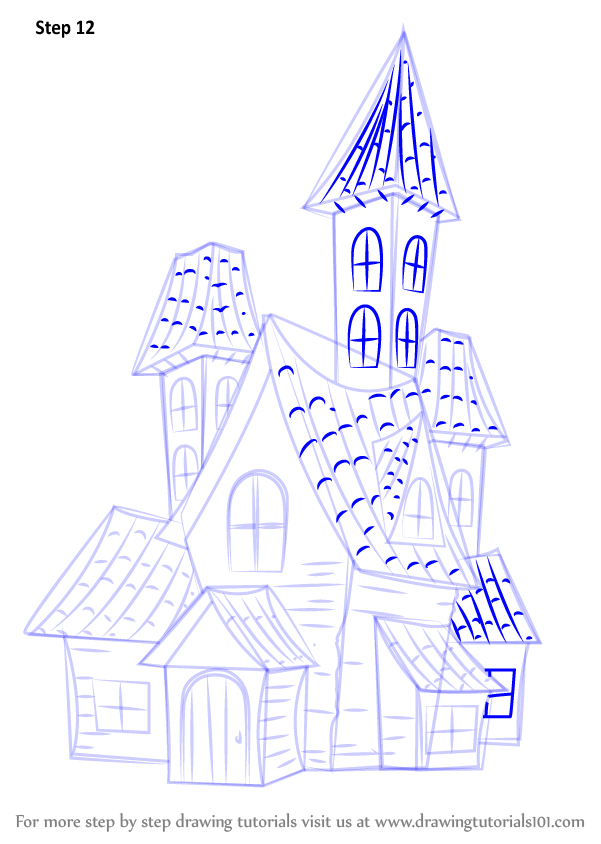 Kids House Drawing: Learn How To Draw A Spooky Haunted House (Halloween) Step