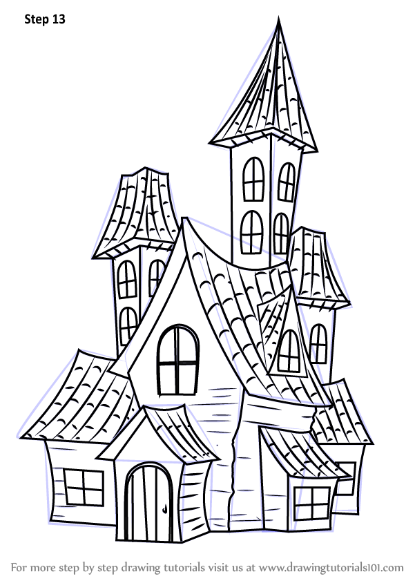 learn how to draw a spooky haunted house halloween step