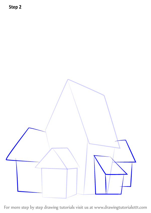 Step by step how to draw a spooky haunted house for How to draw a two story house step by step