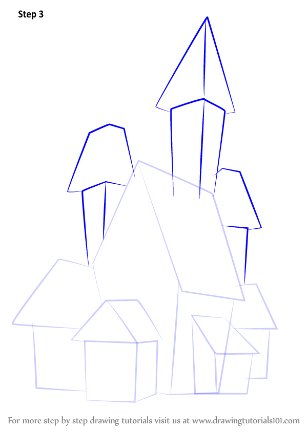 Halloween Spooky House Drawing.Learn How To Draw A Spooky Haunted House Halloween Step By