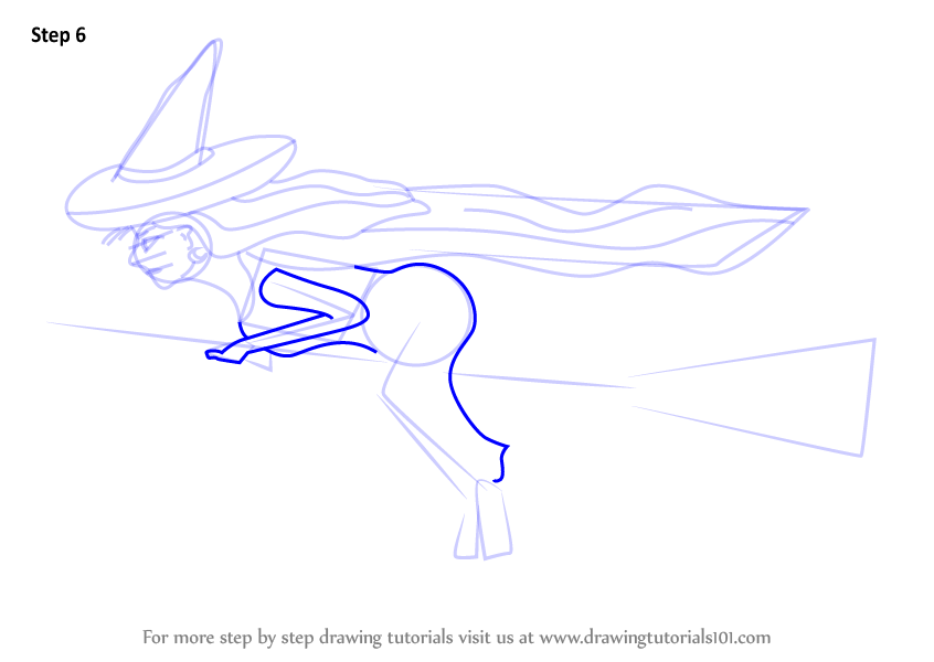 Learn How To Draw Witch On Broom Halloween Step By Step