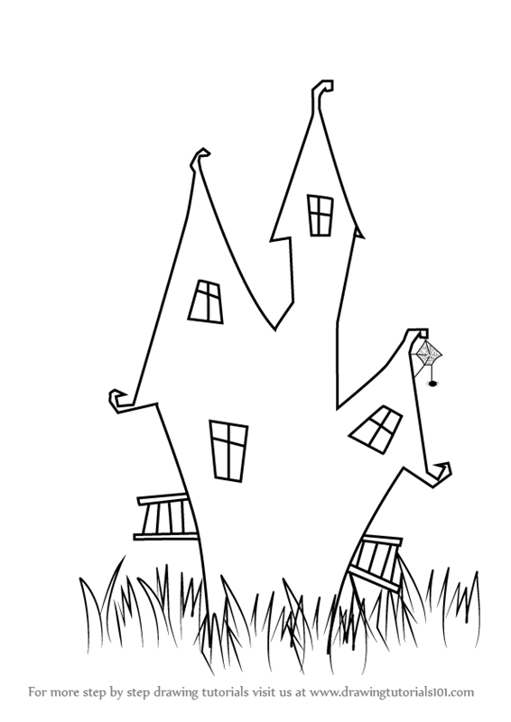 High Quality Learn How To Draw A Witchu0027s House (Halloween) Step By Step : Drawing  Tutorials