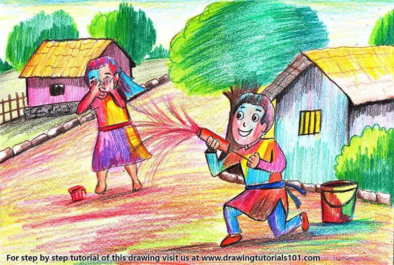 Holi Scene Color Pencil Drawing
