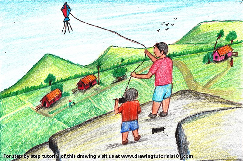 Kite Flying Festival Color Pencil Drawing